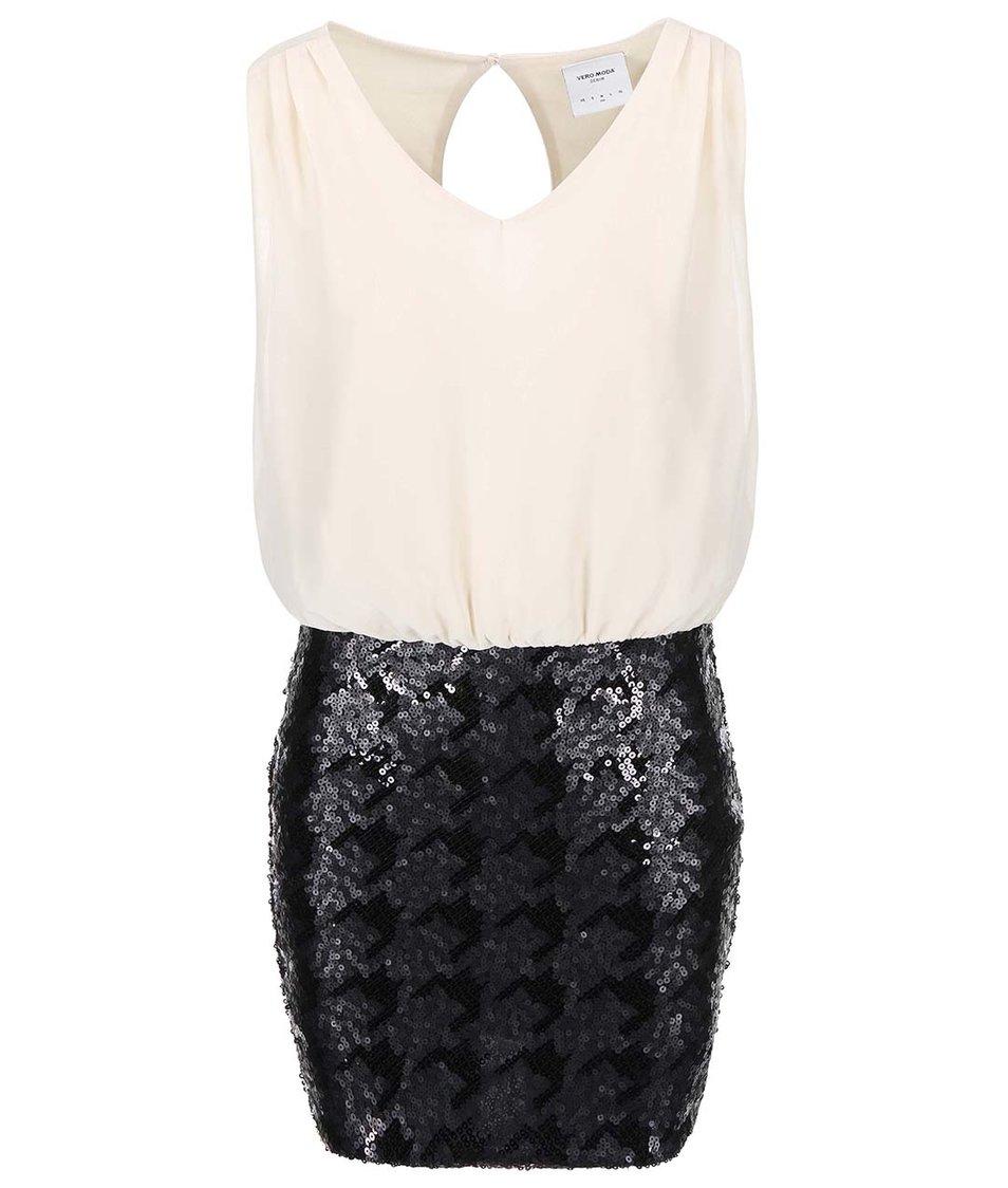 Béžové šaty s flitrovou sukní Vero Moda Minna