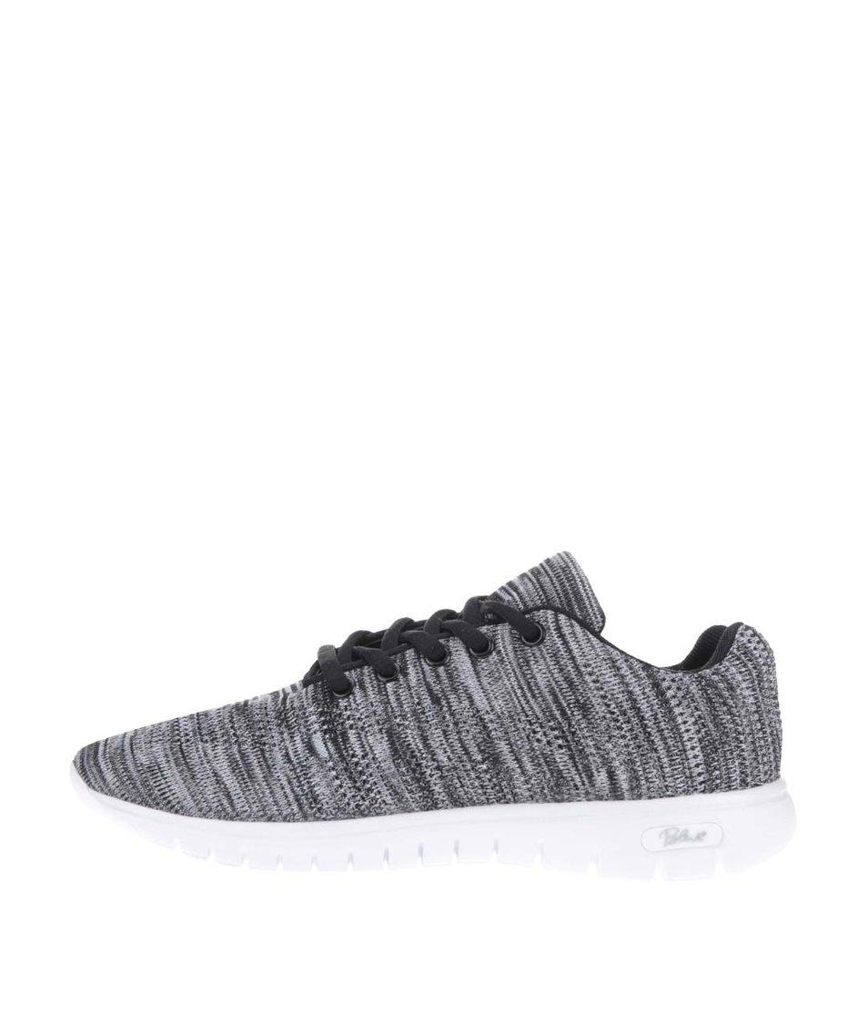 Černo-šedé žíhané tenisky s bílou podrážkou Blink