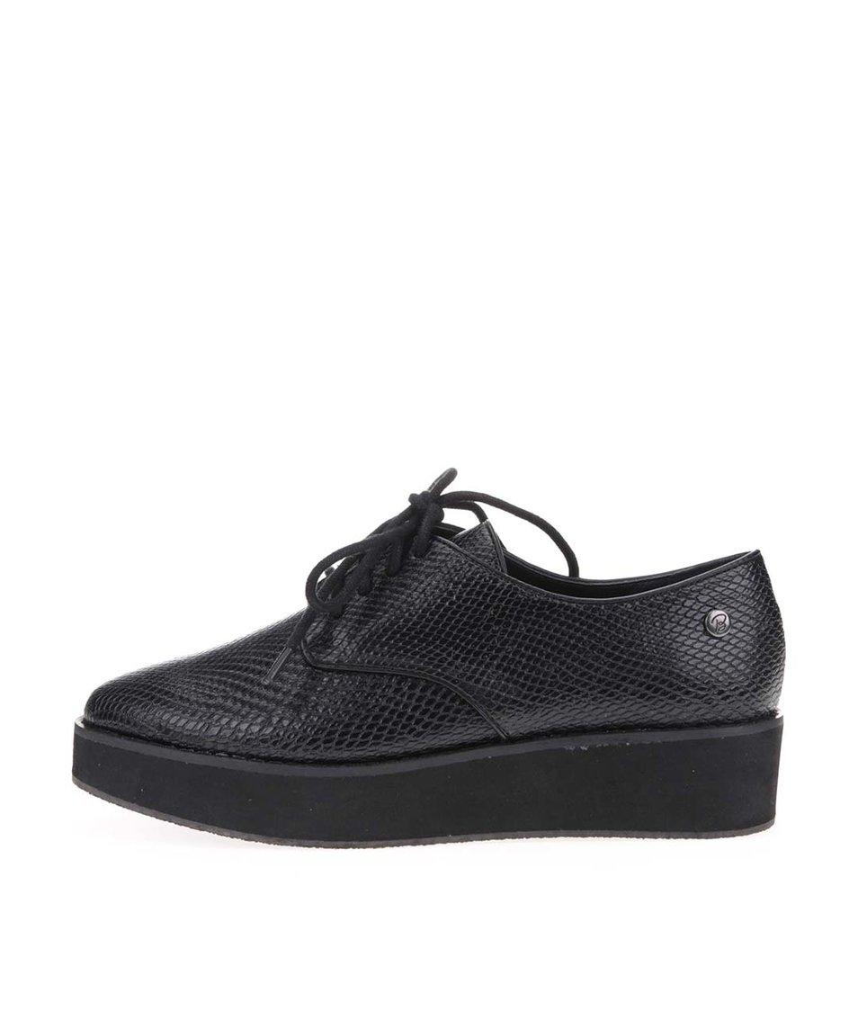 Černé boty s hadím vzorem a vyšší podrážkou Blink