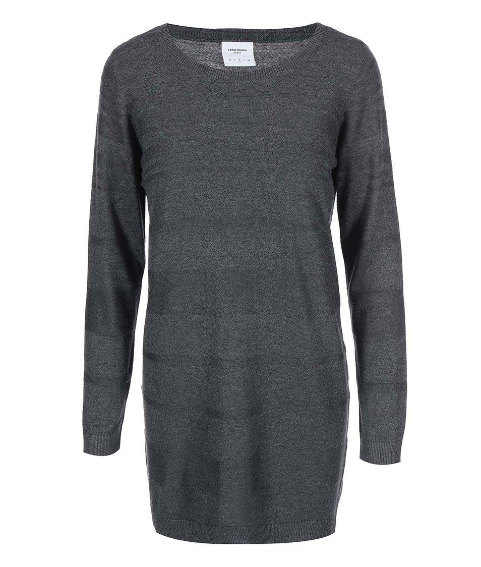 Tmavě šedý delší svetr Vero Moda Saloma