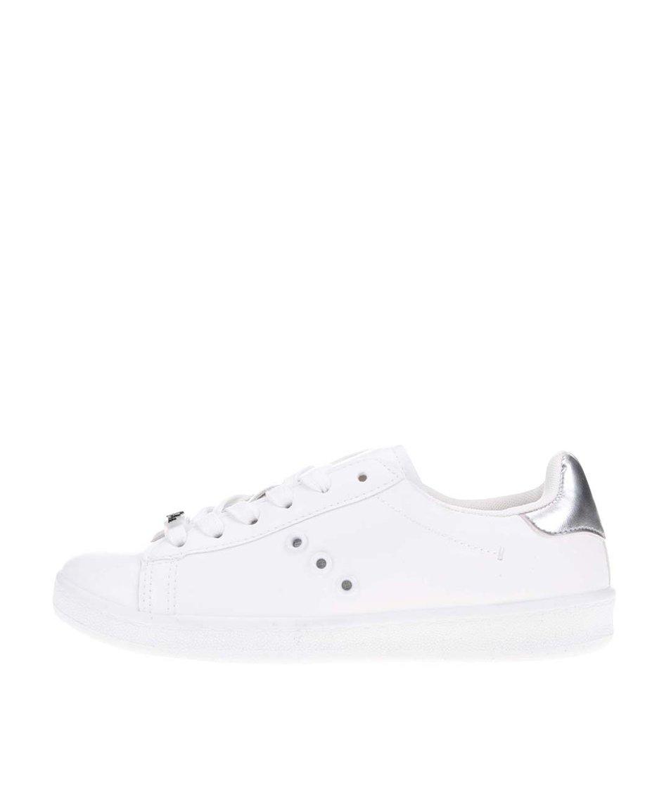 Bílé tenisky s patou ve stříbrné barvě Blink