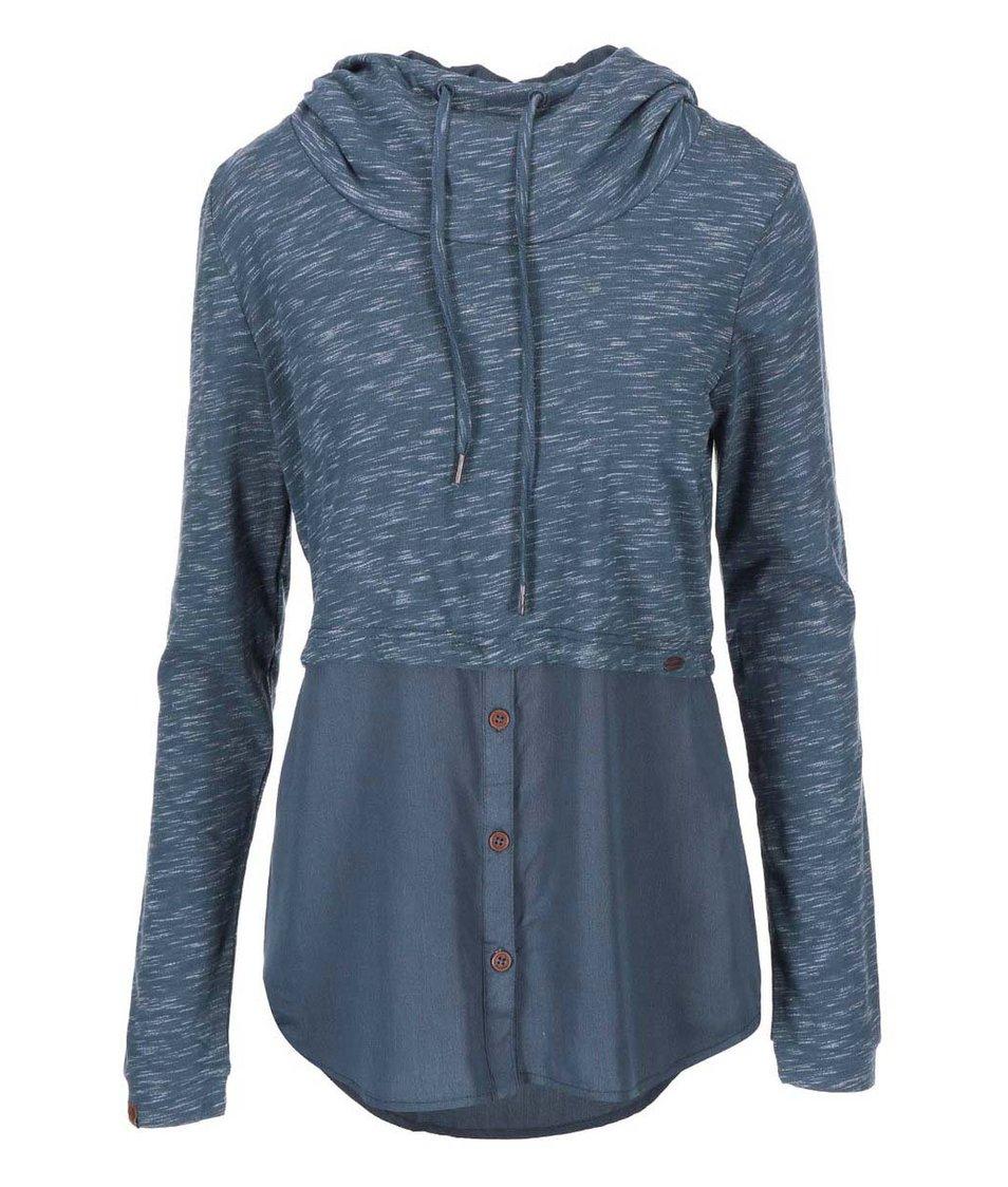 Šedomodré žíhané dámské tričko s kapucí Ragwear Megan