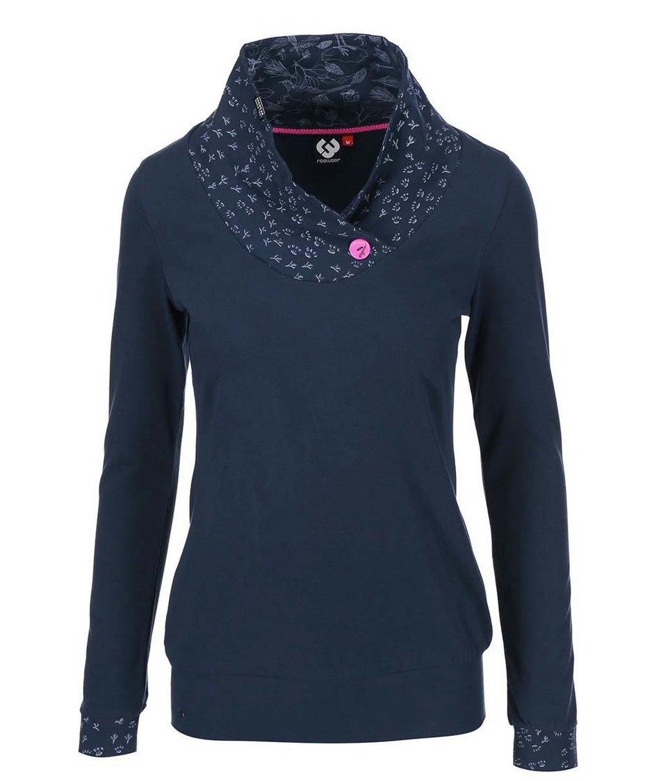 Modré dámské tričko se zdobeným límcem Ragwear Myself