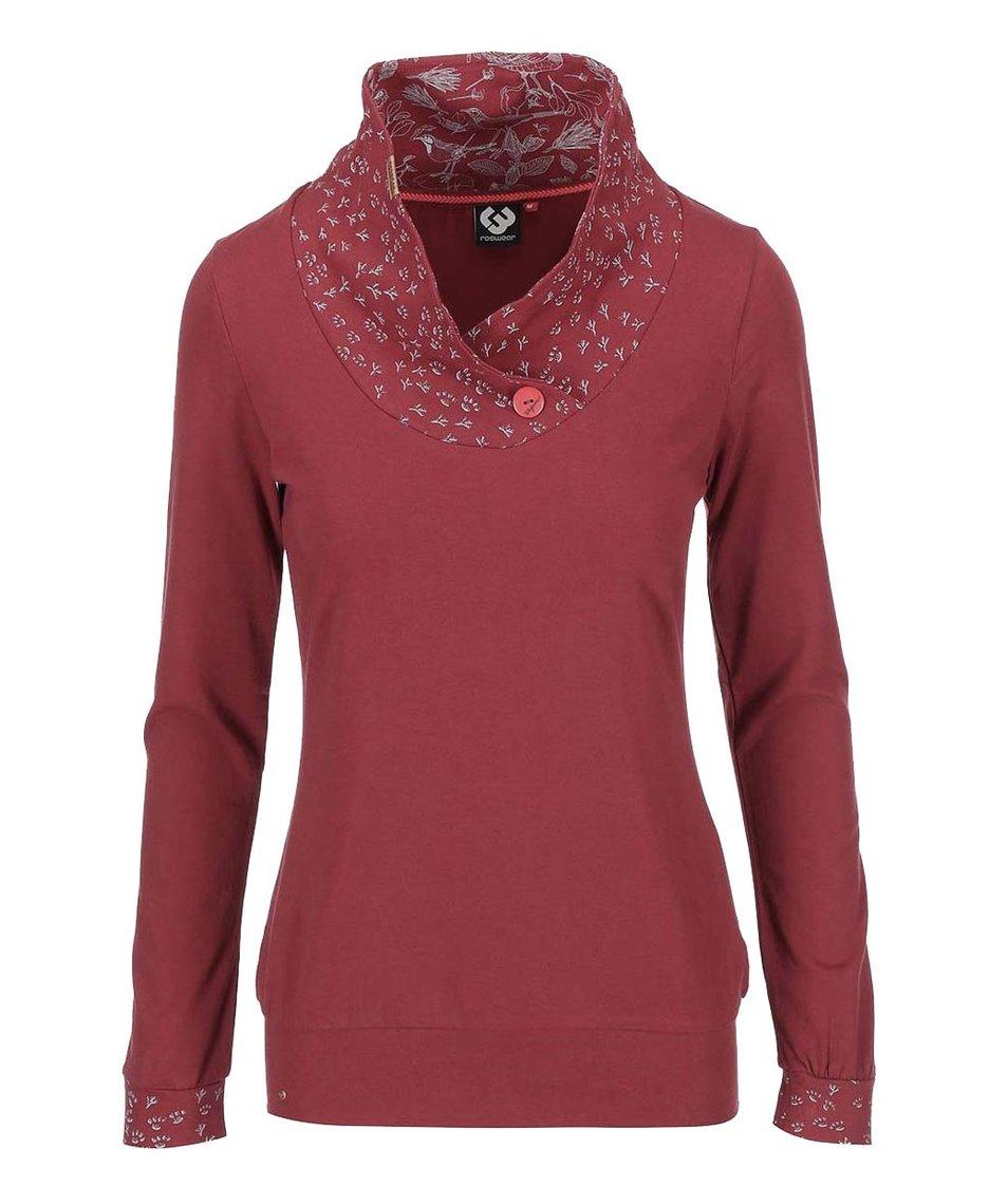 Vínové dámské tričko se zdobeným límcem Ragwear Myself