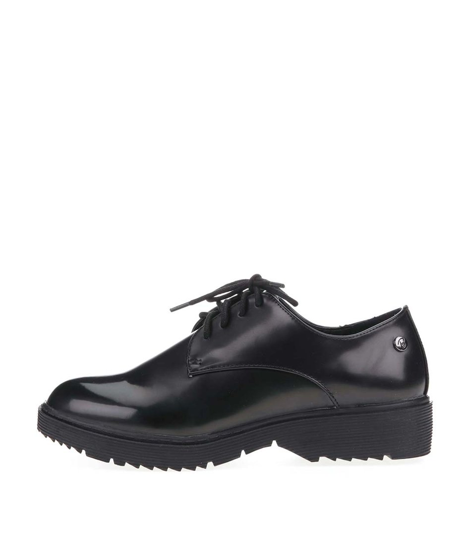 Černé lakované boty s vroubkovanou podrážkou Blink