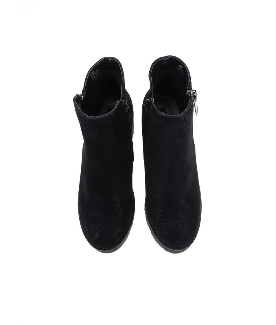 Černé kotníkové boty na nižším podpatku Blink