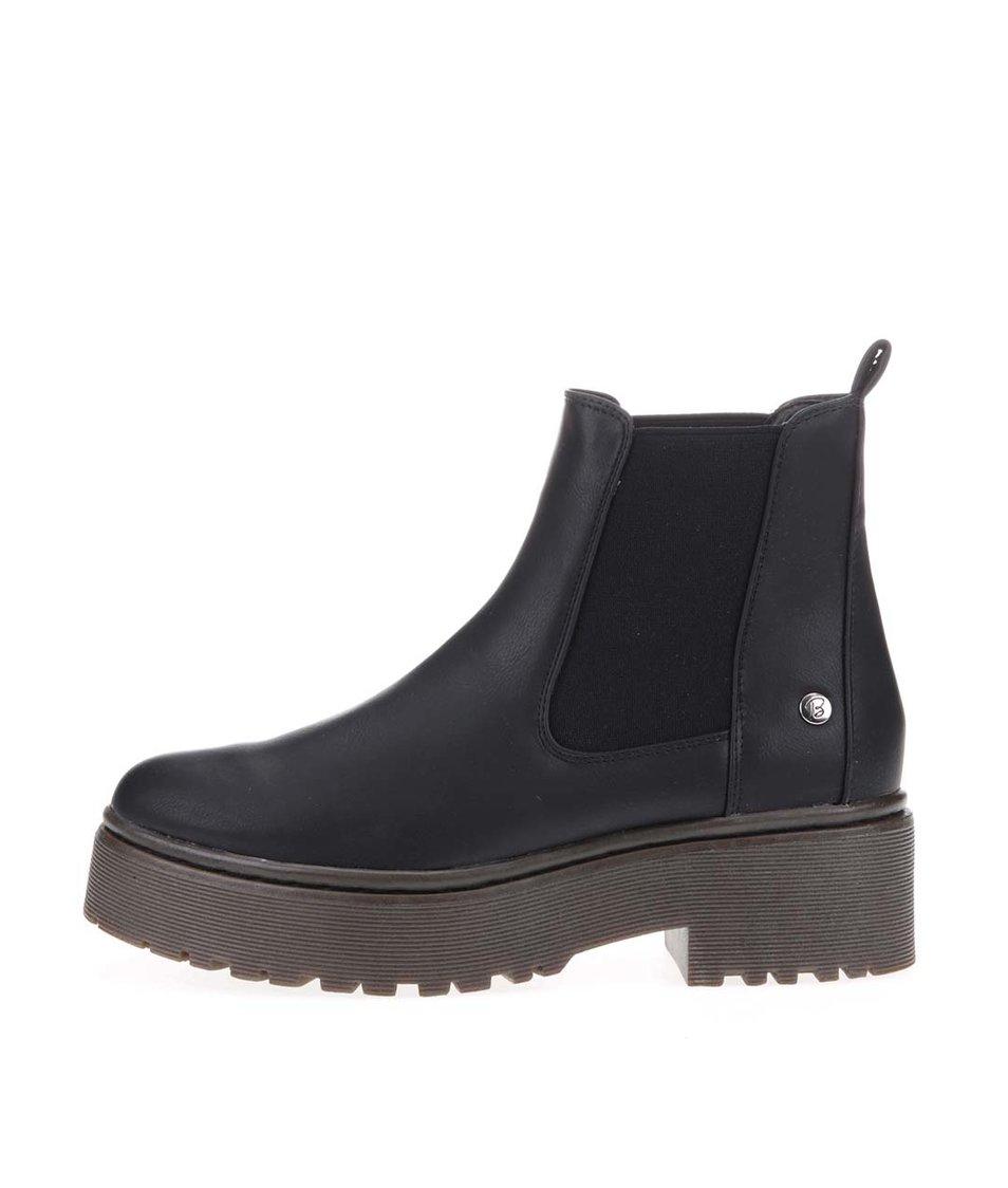 Černé kotníkové boty s hnědou podrážkou Blink