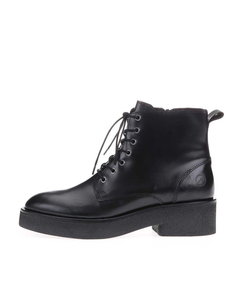 Černé kožené kotníkové boty se šněrováním Bronx