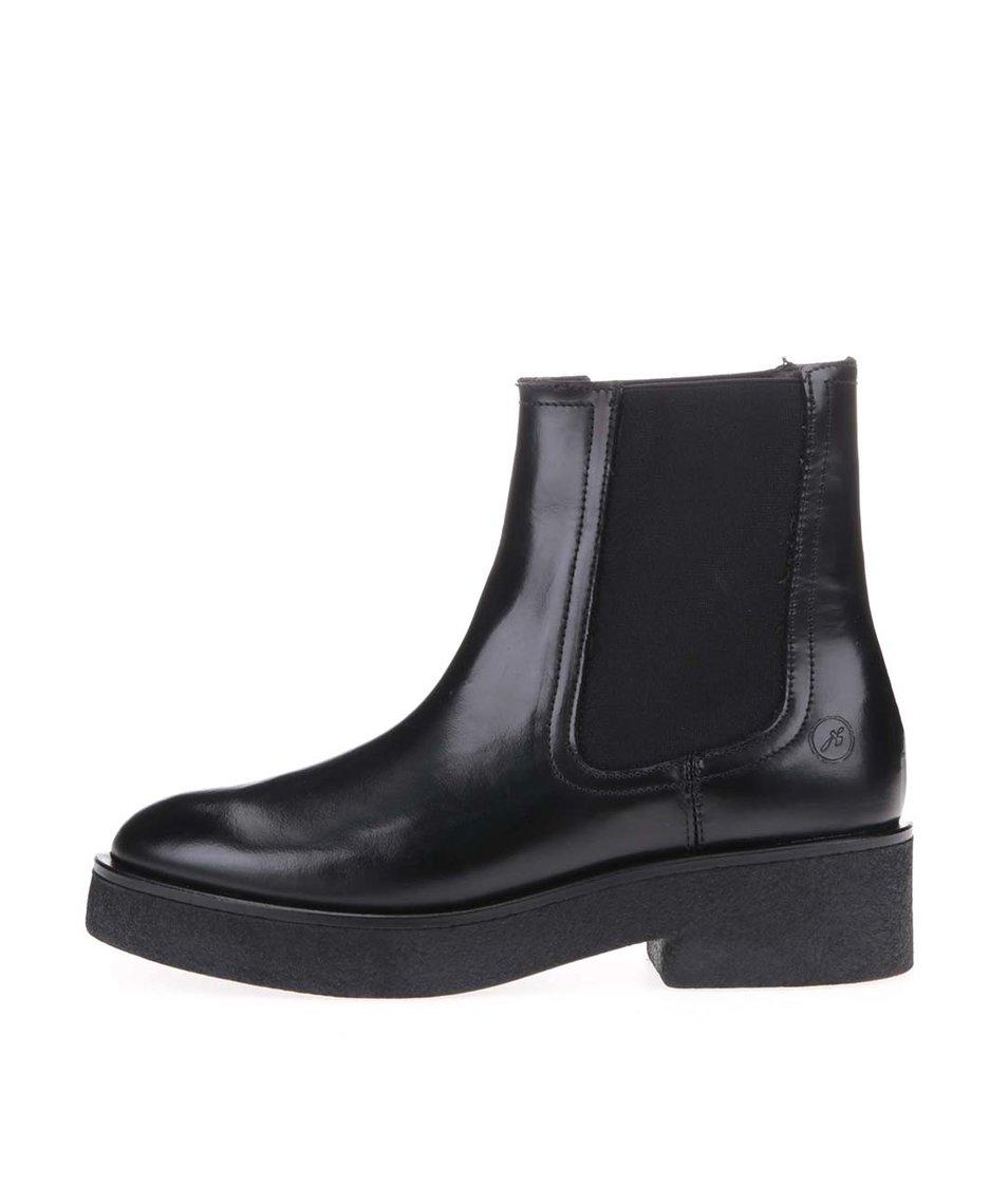"""Černé kožené """"chelsea"""" boty na nižším podpatku Bronx"""