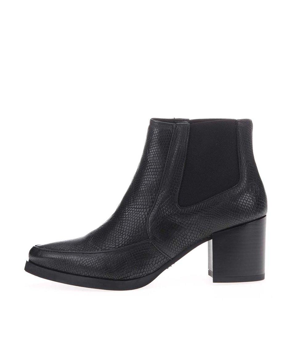 Černé kožené kotníkové boty s hadím vzorem Bronx