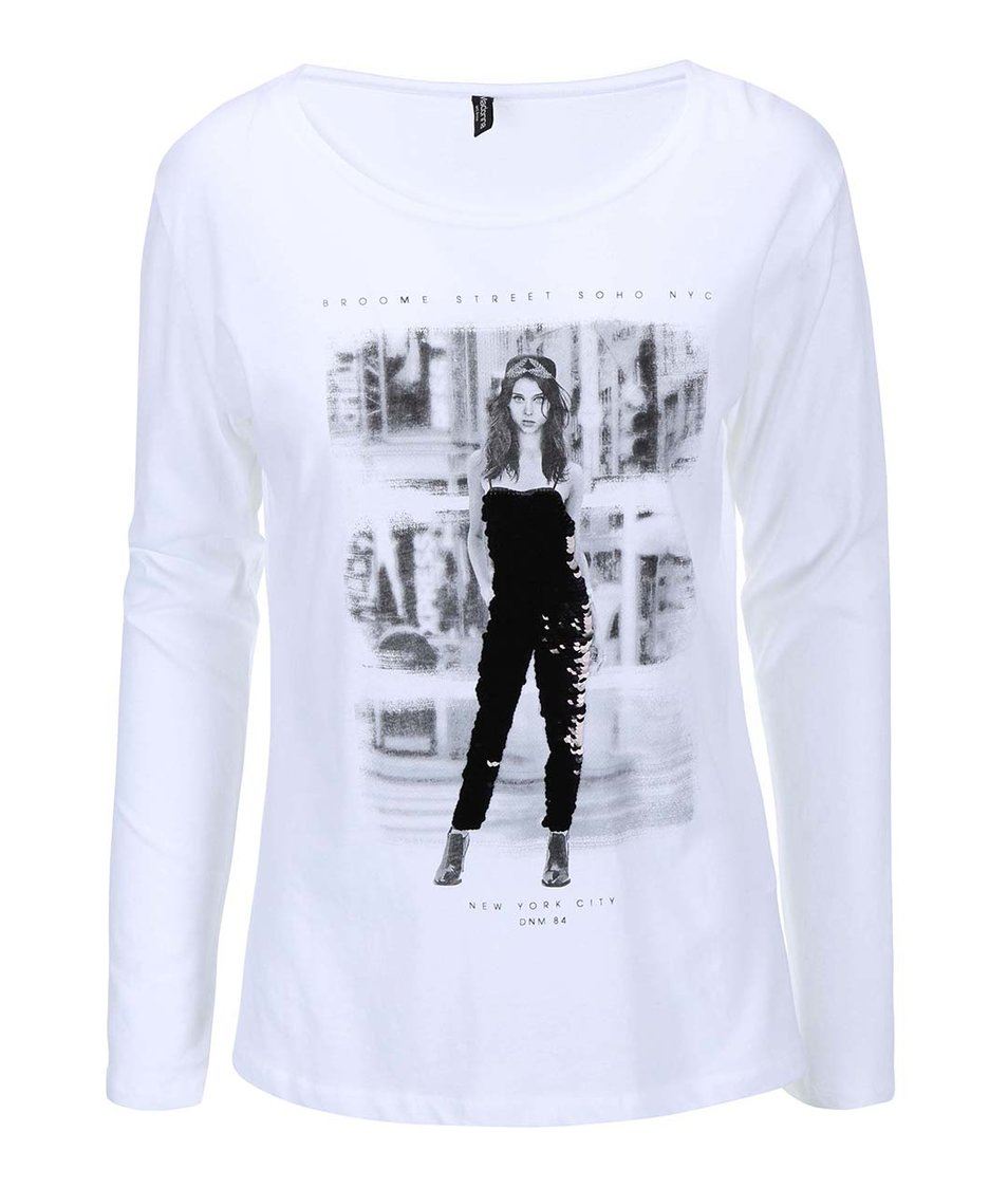 Bílé tričko s potiskem Madonna Sharada