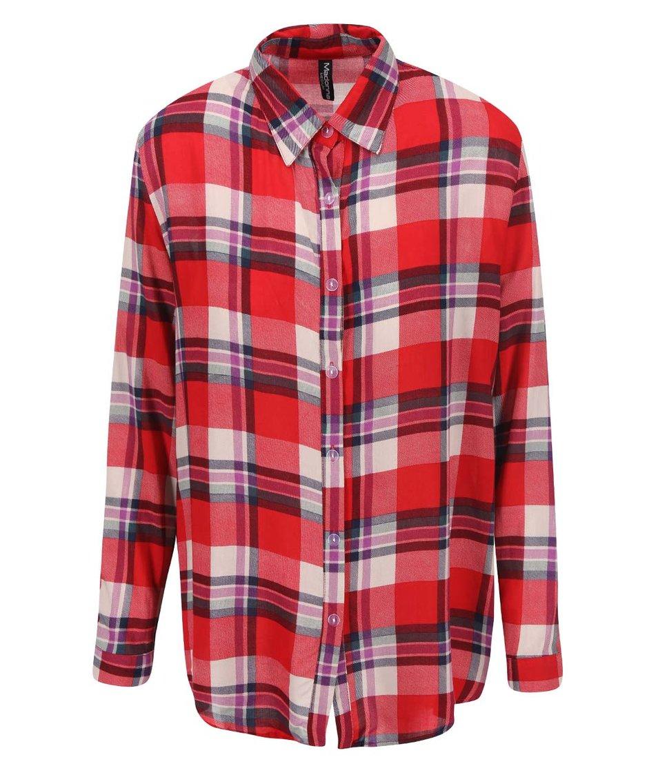 Červená košile s barevným károváním Madonna Gela