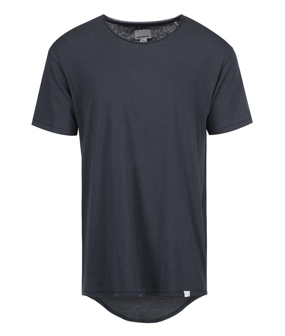 Tmavě šedé triko s prodlouženou zadní částí Shine Original