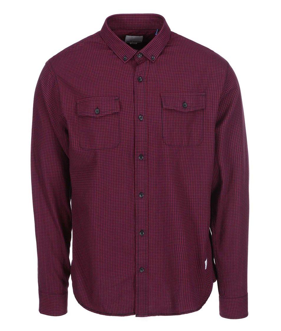 Vínová košile s kostkovaným vzorem Shine Original