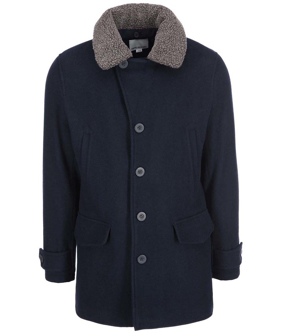 Tmavě modrý vlněný kabát Shine Original Puffer