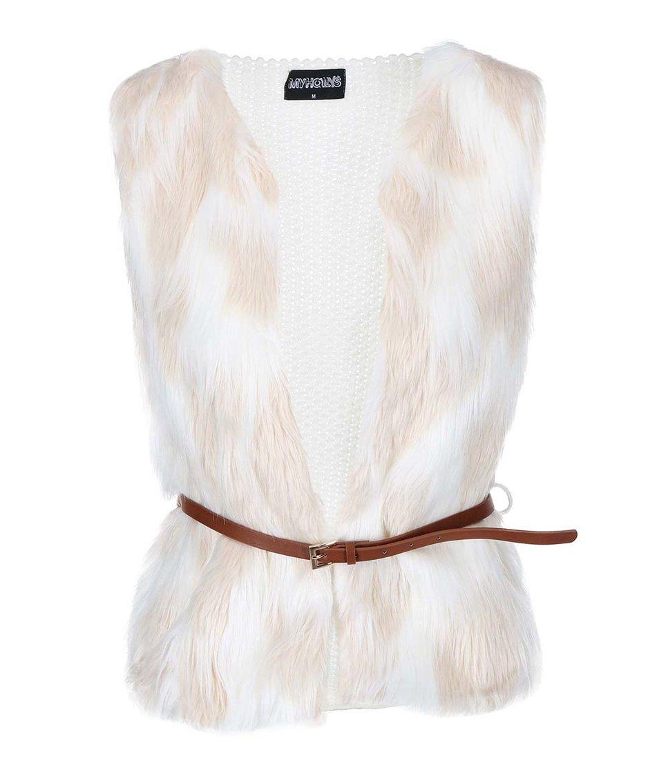 Krémová kožešinová vesta s páskem Haily´s Tyra