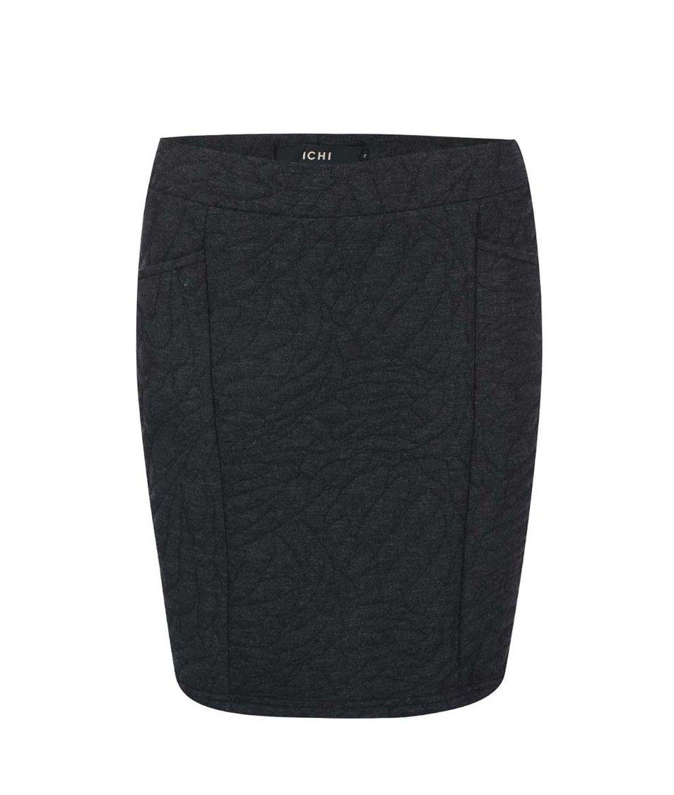 Šedá vzorovaná sukně s kapsami ICHI Petit