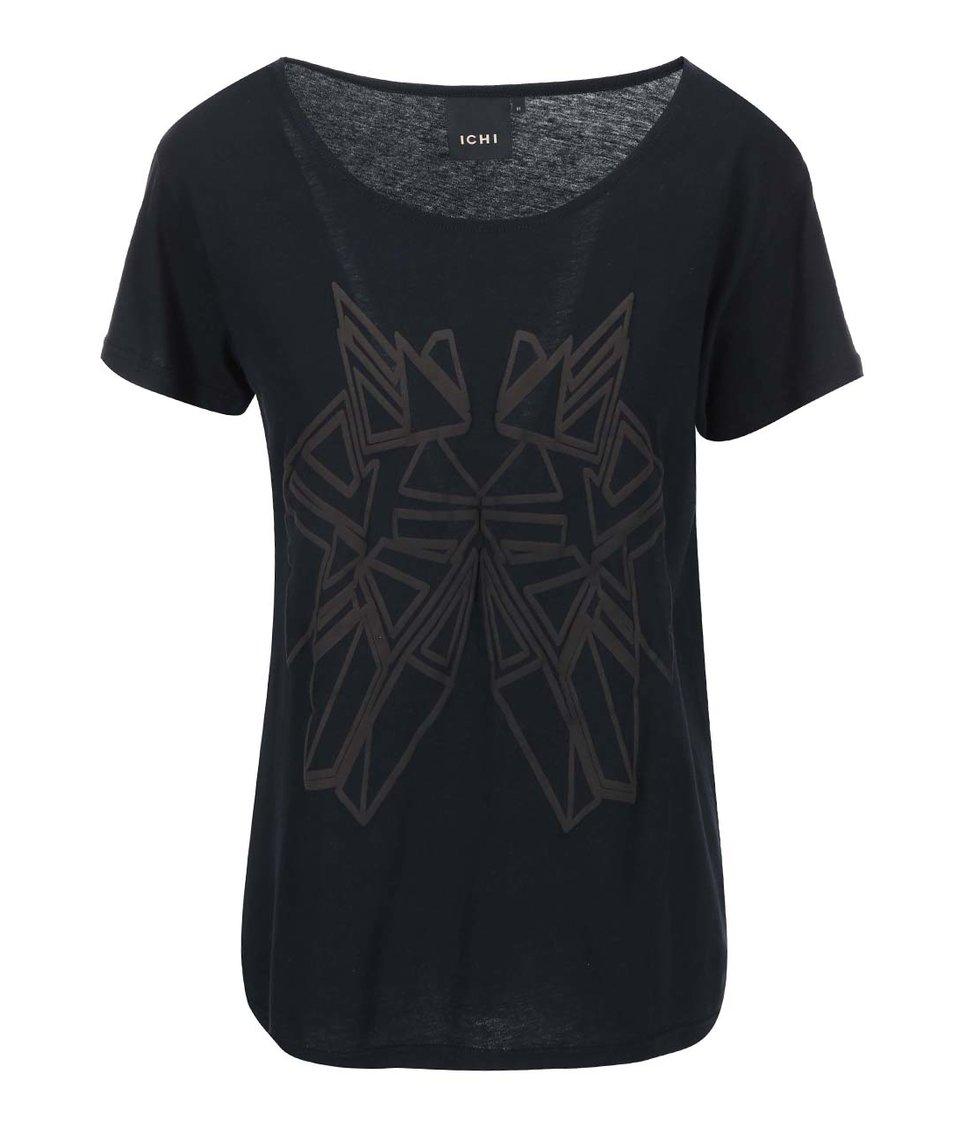 Černé tričko s potiskem ICHI Jasmin