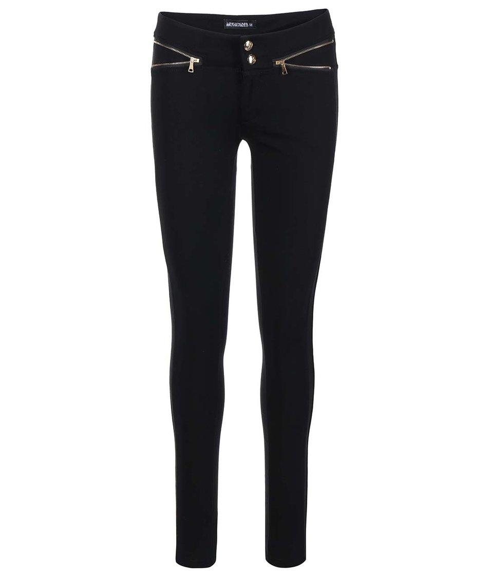 Černé kalhoty se zipy ve zlaté barvě Haily´s Shaline
