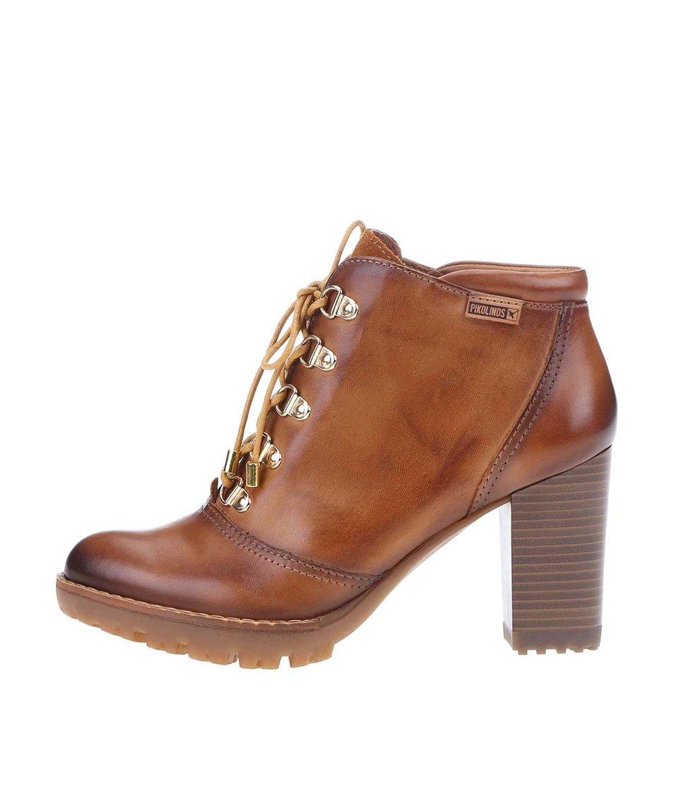 Hnědé kožené šněrovací boty na podpatku Pikolinos