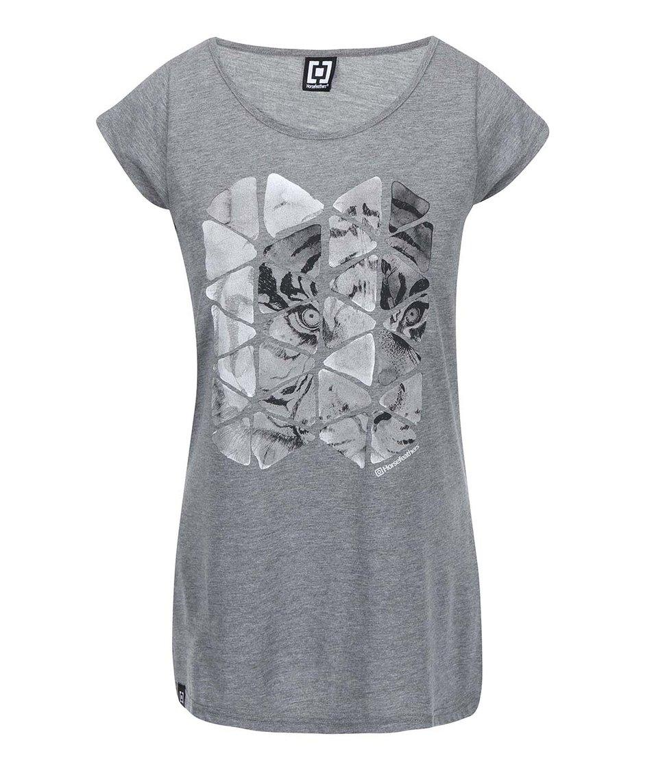 Světle šedé dámské triko s potiskem Horsefeathers Phantom