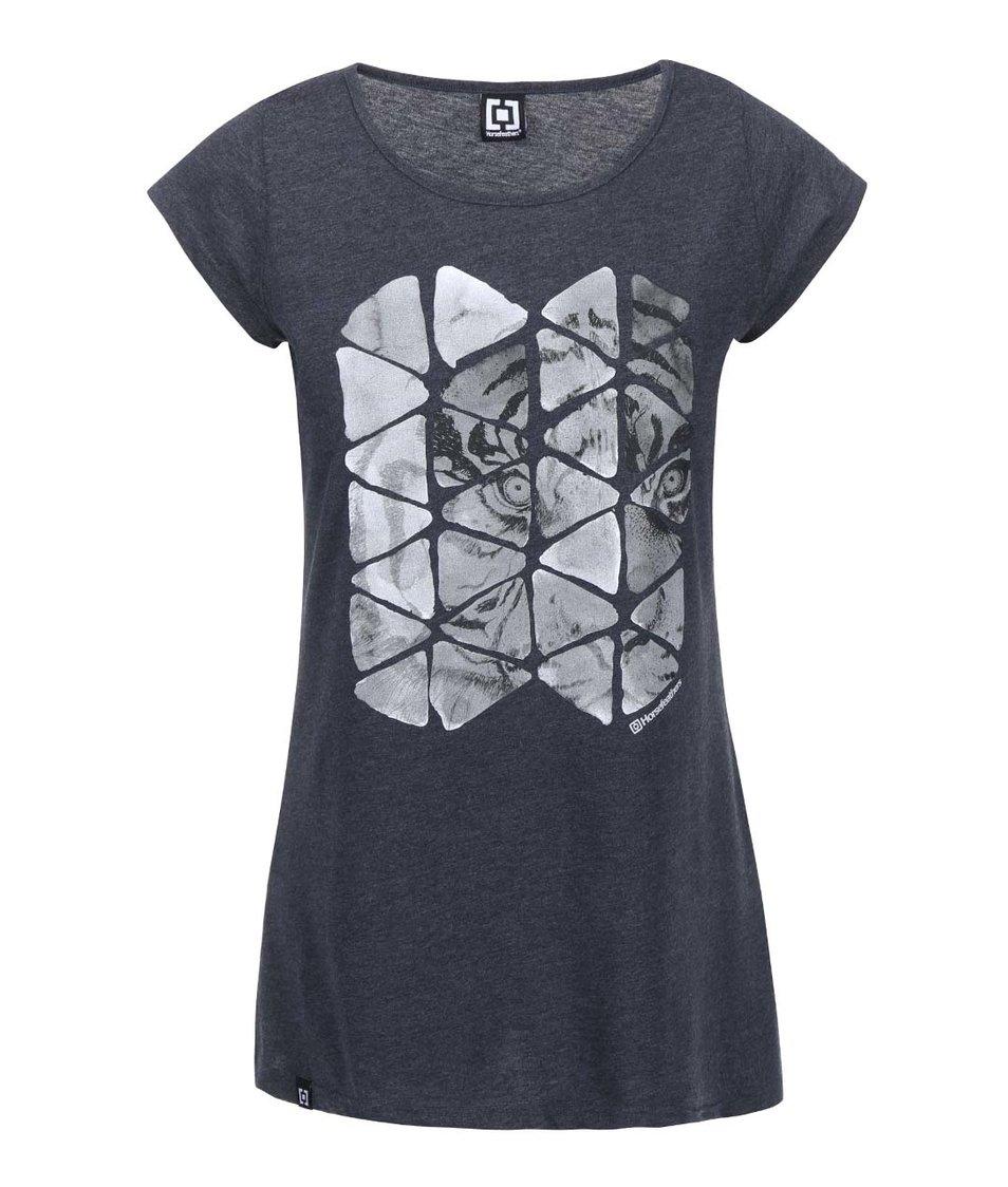 Tmavě šedé dámské triko s potiskem Horsefeathers Phantom