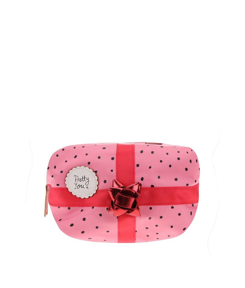 Růžová kosmetická taštička s červenou mašlí Disaster Pompom Tutti