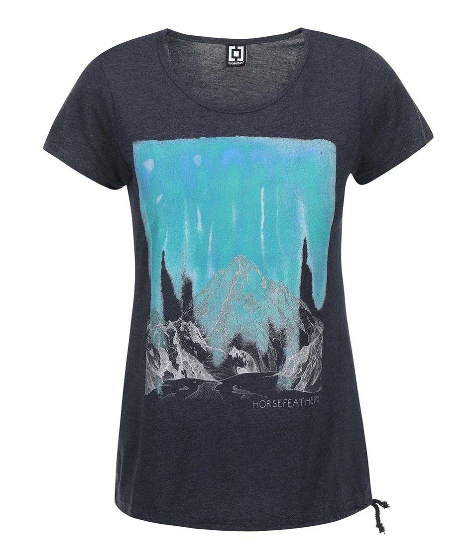 Tmavě šedé dámské triko s vázáním nastraně Horsefeathers Peak