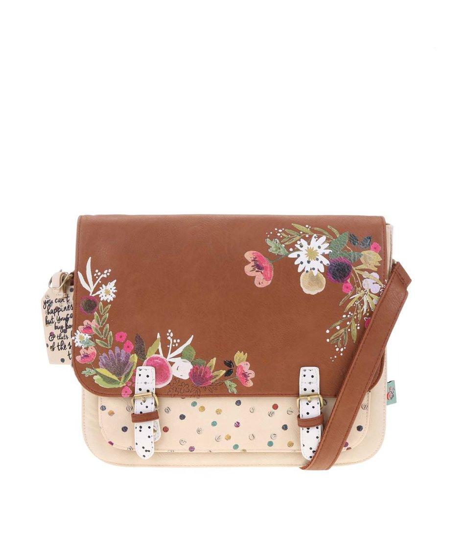 Béžovo-hnědá kabelka přes rameno s květinami Disaster Ampersand