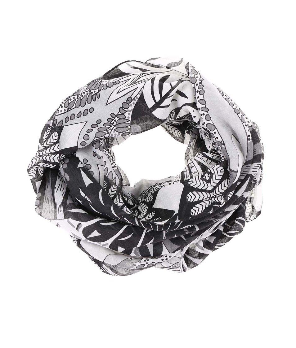 Černo-bílá vzorovaná dutá šála Pieces Rakel