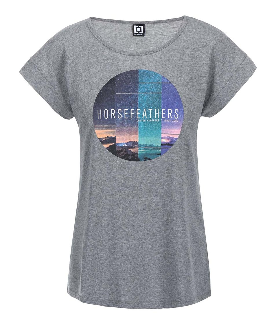 Šedé dámské triko s potiskem Horsefeathers Faraway