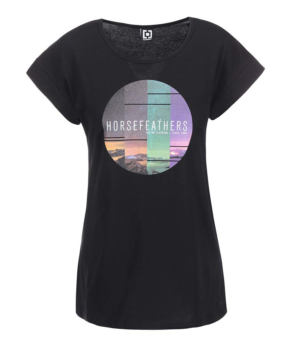 Černé dámské triko s potiskem Horsefeathers Faraway