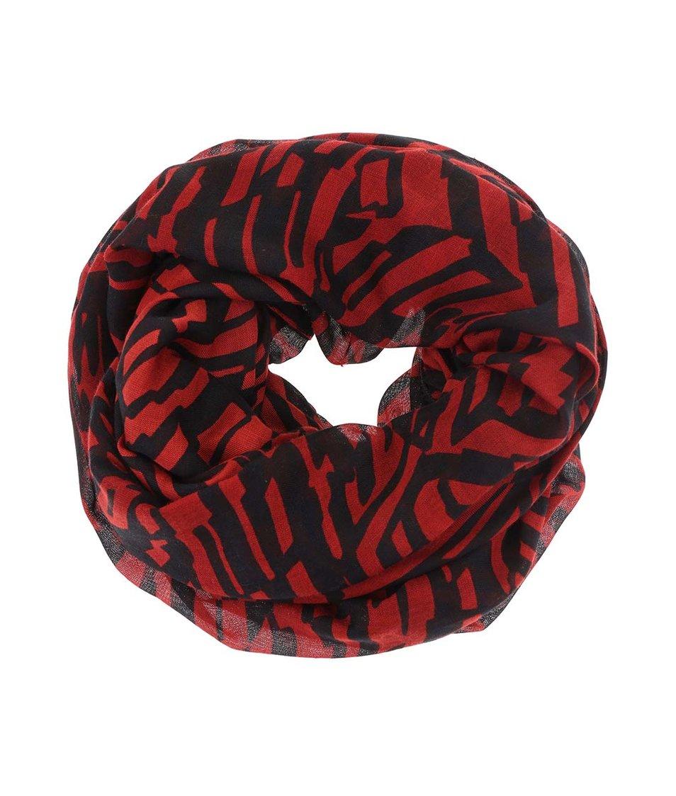 Černo-červená dutá šála Pieces Rickas