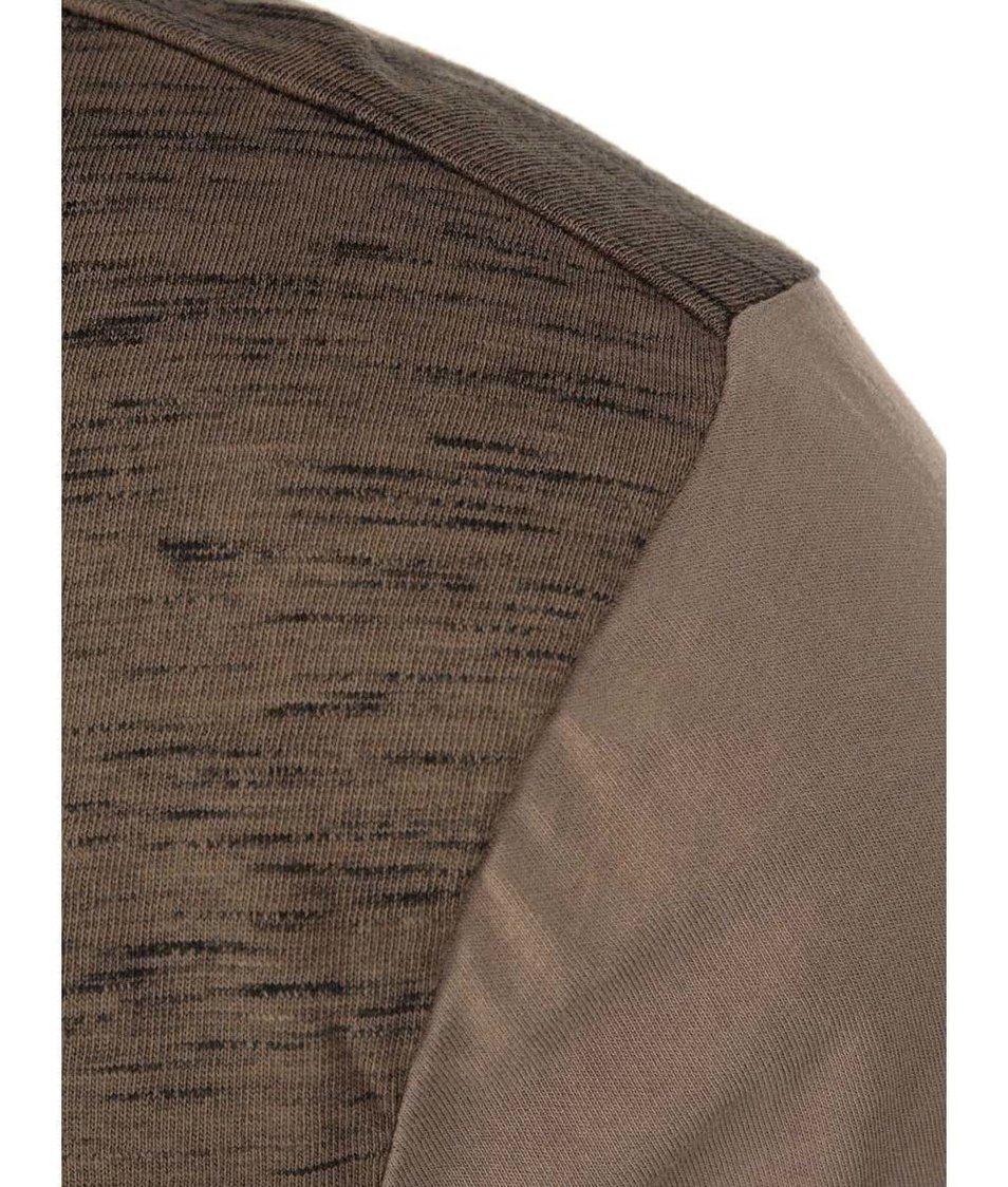 Béžovo-hnědé žíhané pánské triko s dlouhými rukávy Ragwear Bugsy