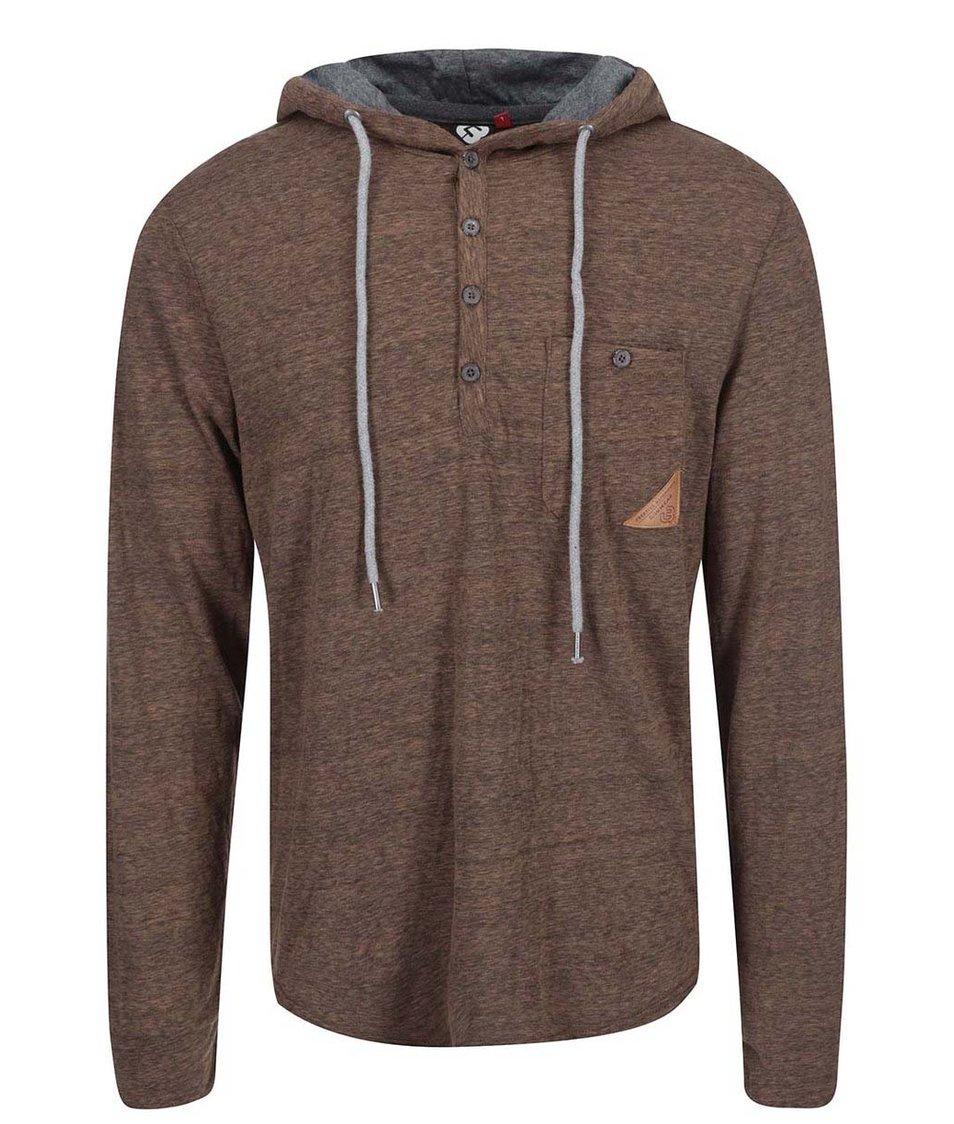 Hnědé žíhané pánské triko s kapucí Ragwear Fall