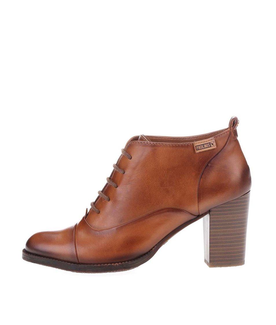 Hnědé kožené kotníkové boty na podpatku Pikolinos