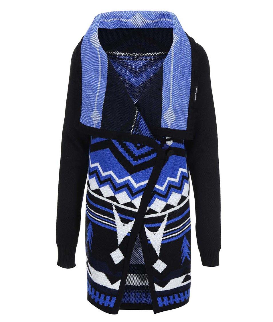 Modro-černý dámský delší cardigan se vzory Horsefeathers Autumn