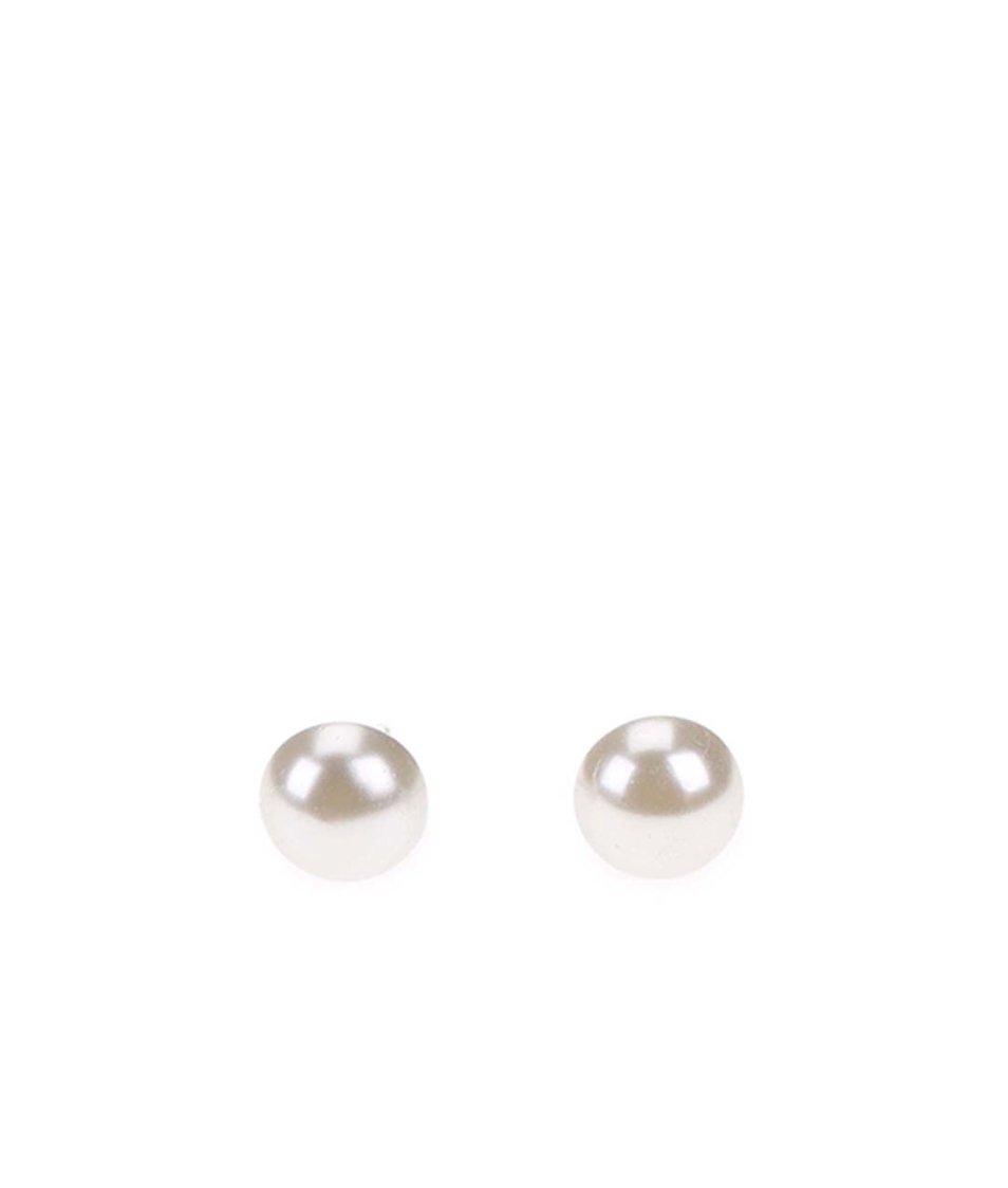 Bílošedé perlové náušnice Pieces Rica