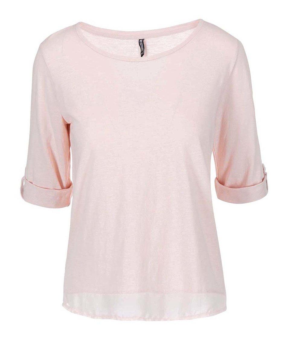 Světle růžové tričko s 3/4 rukávem Haily´s Vicky