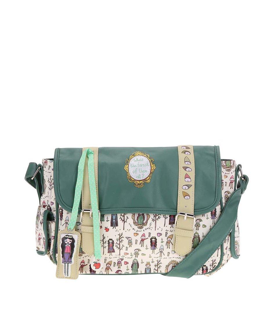 Béžovo-zelená kabelka přes rameno Disaster Once Upon A Time