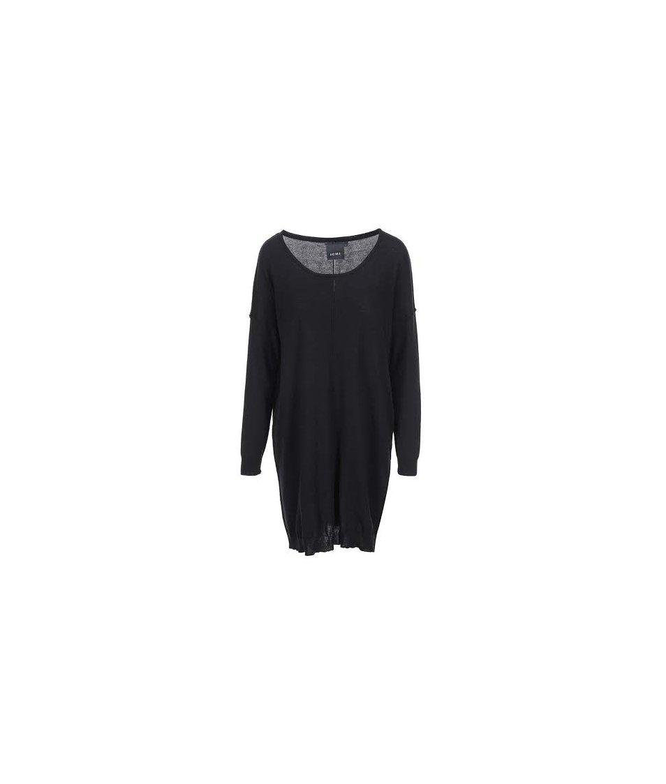 Černé volnější svetrové šaty ICHI Malu