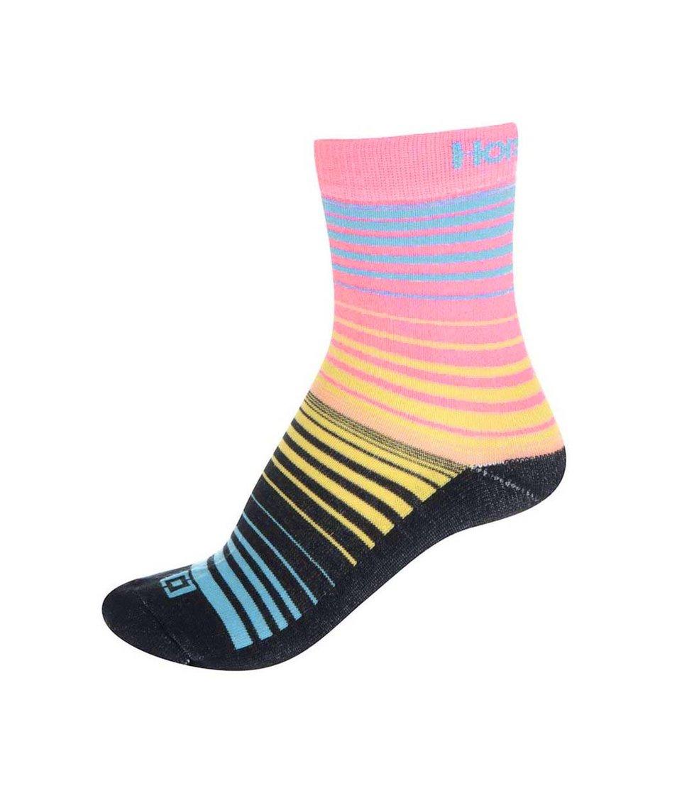 Černo-růžové dámské pruhované ponožky Horsefeathers Contour