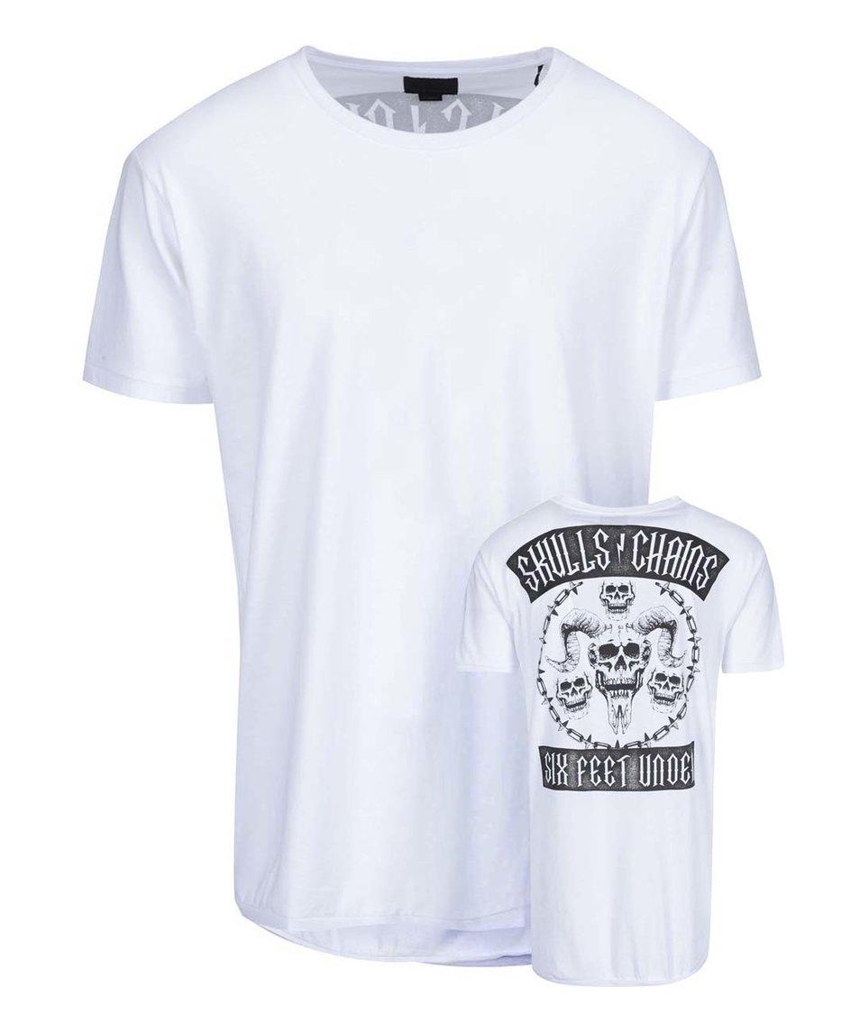 Bílé triko s lebkami na zádech a prodlouženým zadním dílem Shine Original