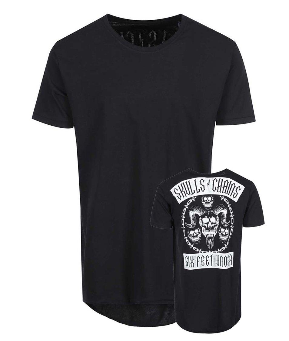 Černé triko s lebkami na zádech a prodlouženým zadním dílem Shine Original