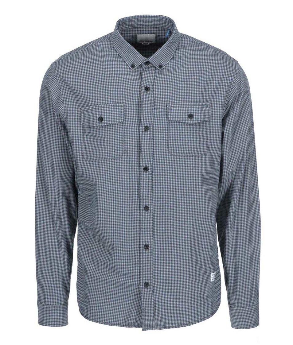 Modrá košile s kostkovaným vzorem Shine Original