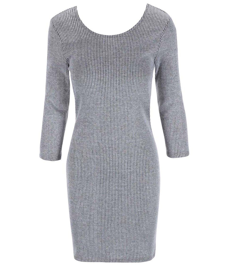 Světle šedé šaty s 3/4 rukávem Vero Moda Alma