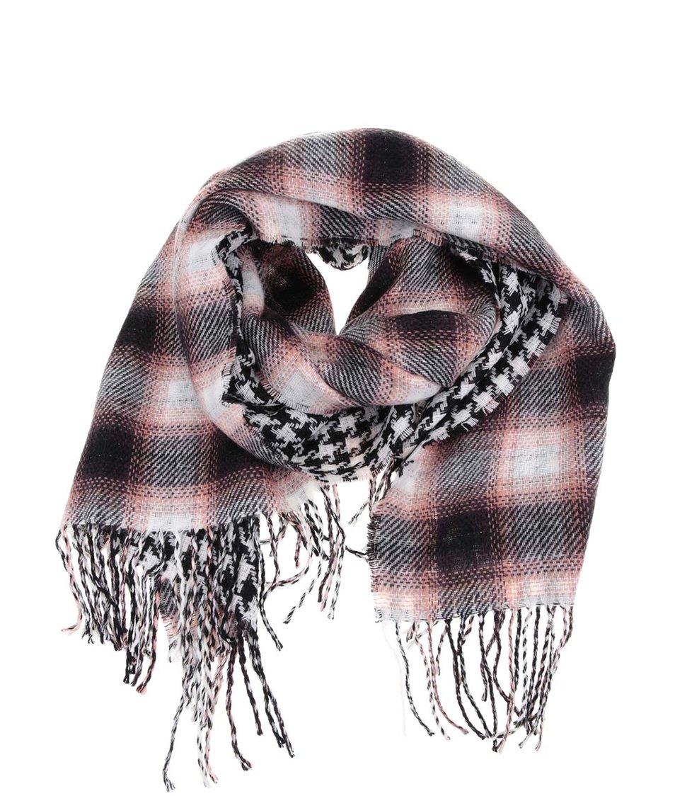 Růžovo-černo-bílá vzorovaná šála Vero Moda Embla