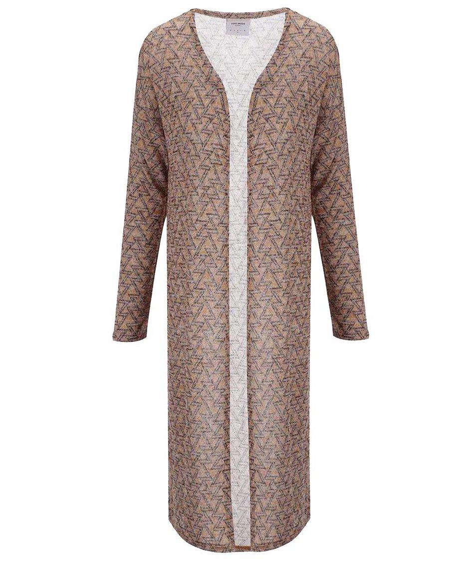 Hnědý dlouhý vzorovaný cardigan Vero Moda Jennie