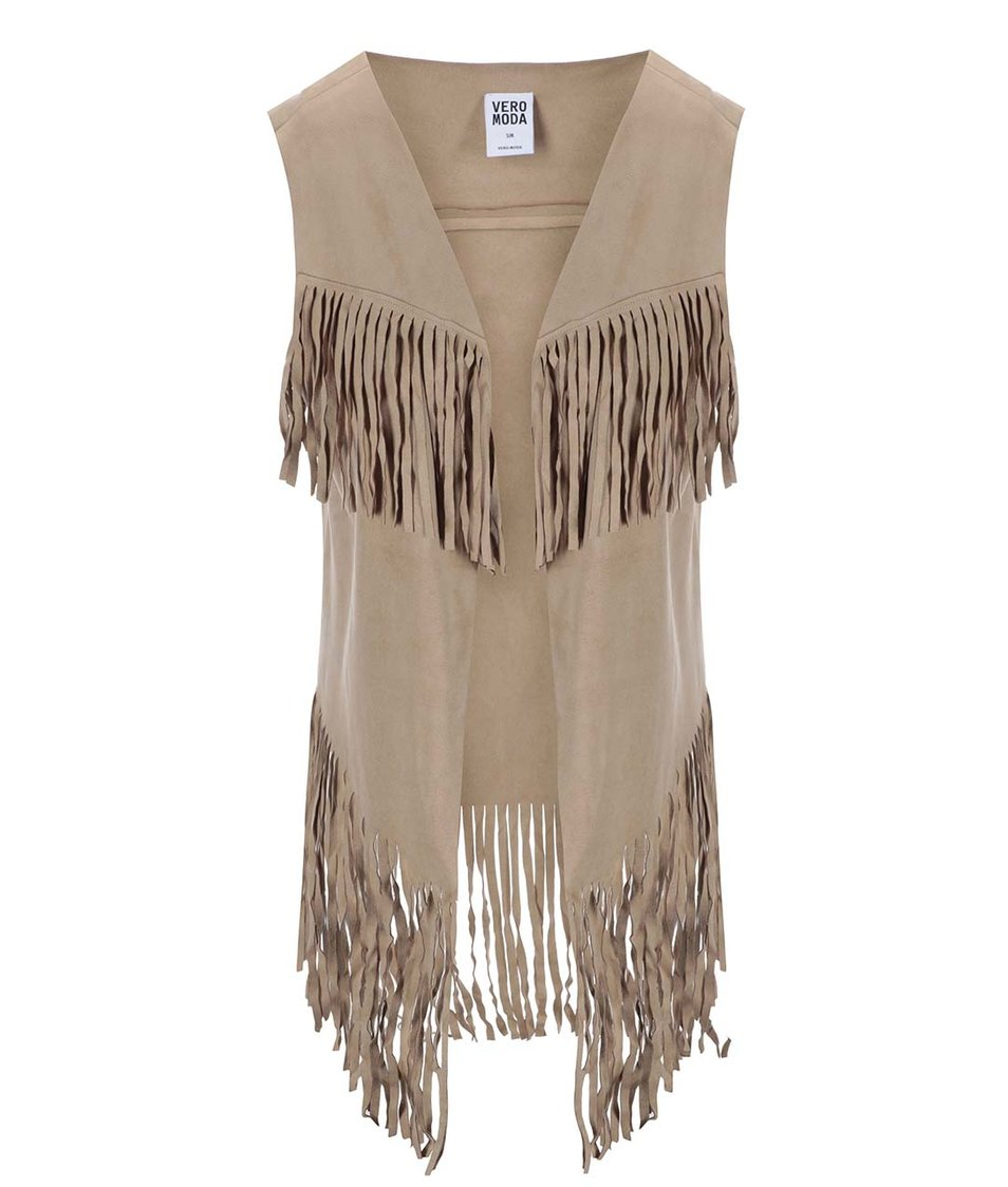 Béžová vesta s třásněmi Vero Moda Rana Fringes