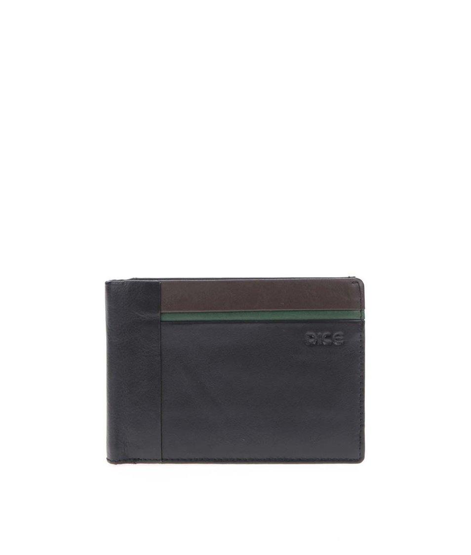 Černá kožená peněženka se zeleno-hnědým detailem Dice Culen